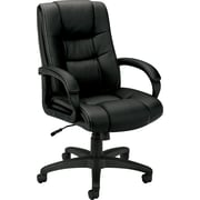 basyx by HON® BSXVL131EN11 VL131 Vinyl Executive High-Back Chair with Fixed Arms, Black
