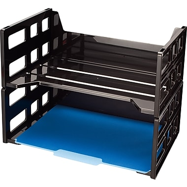 Officemate® High-Capacity Trays, Side-Load, Letter, Black, 5 1/2in.H x 13 3/16in.W x 9in.D, 2/Pk