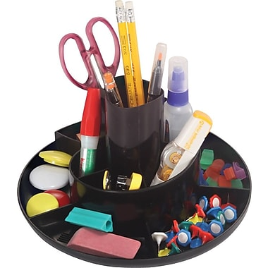 OIC® 10 Compartment Black Plastic Recycled Rotary Organizer