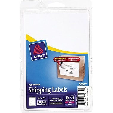 Avery® 5292 White Laser/Inkjet Shipping Labels with TrueBlock, 4in. x 6in., 20/Pack