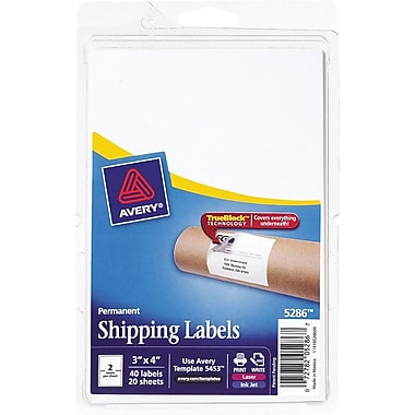 Avery® 5286 White Laser/Inkjet Shipping Labels with TrueBlock, 3in. x 4in., 40/Pack