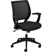 basyx by HON® BSXVL521VA10 VL521 Fabric Mesh Back Mid-Back Office Chair with Fixed Arms, Black