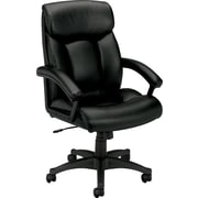 basyx by HON® BSXVL151SB11 VL151 Leather Executive High-Back Chair with Fixed Arms, Black