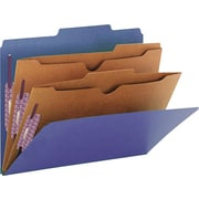 "Smead Pressboard Classification Folders, 2 Pocket Dividers, Dark Blue, Letter,  8 1/2"" x 11"", 10/Bx"