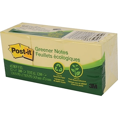 Post-it® - Feuillets Greener recyclés, jaune canari, 1 1/2 po x 2 po, paq./12 blocs