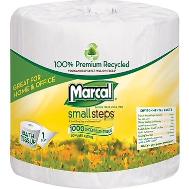 Marcal® Small Steps® 100% Recycled Bath Tissue Rolls, 1-Ply, 40 Rolls/Case