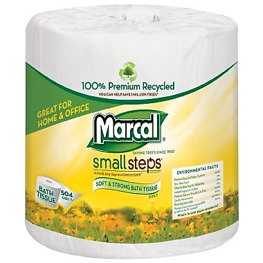 Marcal® Small Steps® 100% Recycled Bath Tissue Rolls, 2-Ply, 80 Rolls/Case