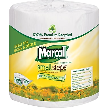 Marcal® Small Steps® 100% Recycled Bath Tissue Rolls, 2-Ply