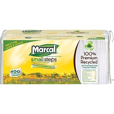 Marcal ® Small Steps ® 100% Recycled Paper Napkins, 1-Ply, 400/Pack