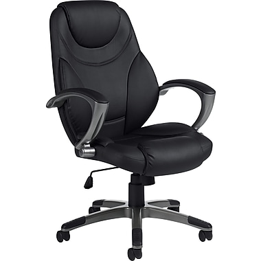 Global® High-Back Luxhide Bonded Leather Executive High-Back Chair, Black