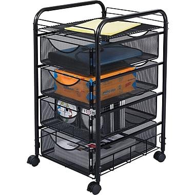 Safco® Onyx 4-Drawer Mesh Mobile Supply Cart, Black