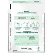 "MMF Industries™ Bio-Natrual Tamper-Evident Deposit Bags, White 9""x12"""