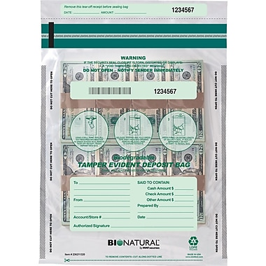 MMF Industries® Bio-Natrual Tamper-Evident Deposit Bags, Clear 9