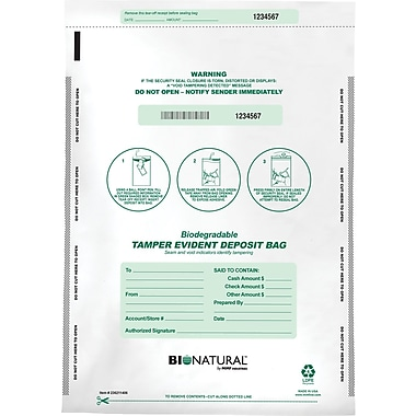 MMF Industries® Bio-Natrual Tamper-Evident Deposit Bags, White 12in.x16in.