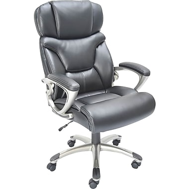 Staples® Bonded-Leather Executive Chair, Black