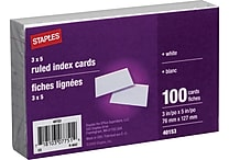Staples® Ruled 3' x 5' White Index Cards, 100/Pack