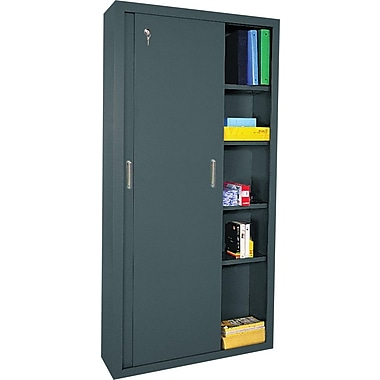 Sandusky Sliding Door Storage Cabinets, 72in.H X 36in.W X 18in.D, Charcoal