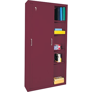 Sandusky Sliding Door Storage Cabinets, 72in.H X 36in.W X 18in.D, Burgundy