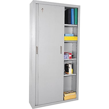 Sandusky Sliding Door Storage Cabinets, 72in.H X 36in.W X 18in.D, Dove Gray