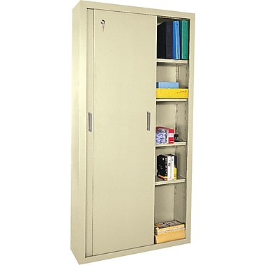 Sandusky Sliding Door Storage Cabinets, 72in.H X 36in.W X 18in.D, Putty