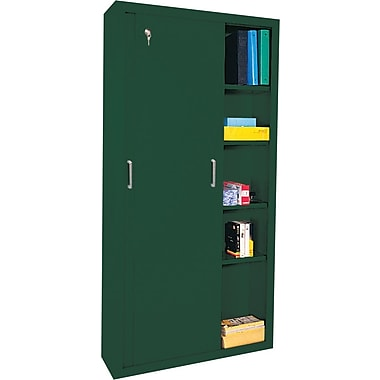 Sandusky Sliding Door Storage Cabinets, 72in.H X 36in.W X 18in.D, Forest Green