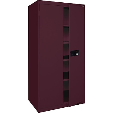 Sandusky Electronic Coded Keyless Cabinets, 72in.H x 36in.W x 18in.D, Burgundy