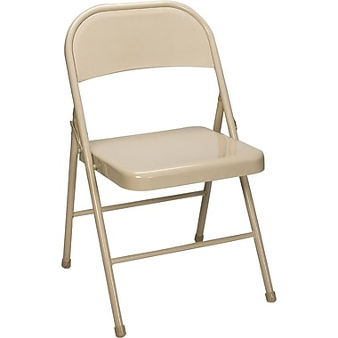 Staples® Steel Folding Chair, Beige, 4/Pack