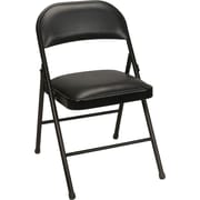 Staples® Steel Folding Chair, Black with Luxura™ Seat, 4/Pack