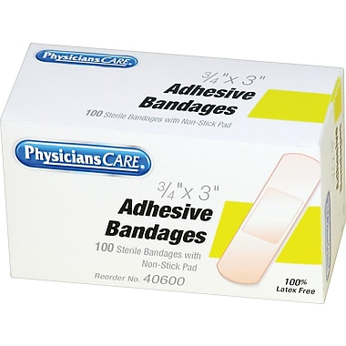 PhysiciansCare® First Aid Refill Plastic Bandages, 3/4in. x 3in., 100/Box