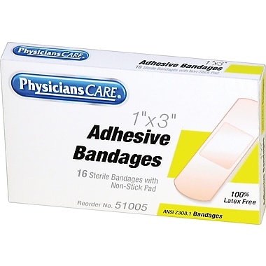 PhysiciansCare® First Aid Refill Plastic Bandages, 1in. x 3in., 16/Box