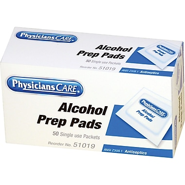 PhysiciansCare® First Aid Refill Alcohol Pads, 50/Box