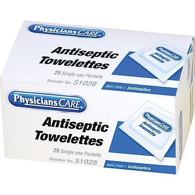 PhysiciansCare® First Aid Refill Antiseptic Towelettes, 25/Box