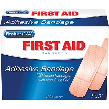 PhysiciansCare® Plastic Bandages, 1in. x 3in., 100/Box