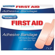 PhysiciansCare® Plastic Bandages, 1 x 3, 100/Box