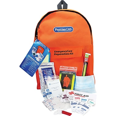 PhysiciansCare® Emergency Preparedness First Aid Backpack, Contains 43 Pieces