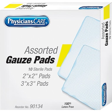 PhysiciansCare® First Aid Refill Gauze Pads, Assorted Sizes, 10/Box