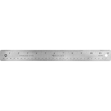 Westcott® 12in. Stainless Steel Office Ruler with Non Slip Cork Base