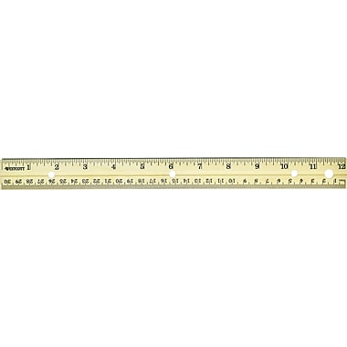 Westcott® 10702 Hole Punched Wood Ruler English and Metric With Metal Edge, 12in.