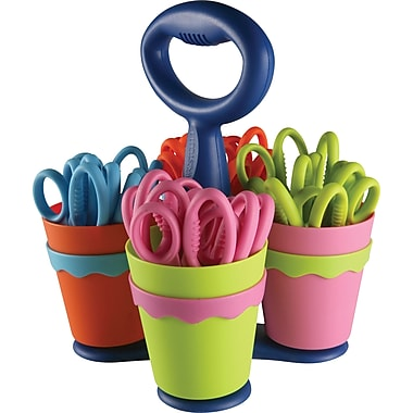 Westcott® 5in. School Scissor Caddy & Kids Scissors with Microban, 25 Scissors/1 Caddy, Pointed