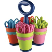 Westcott® 5 School Scissor Caddy & Kids Scissors with Microban®, 25 Scissors/1 Caddy, Blunt