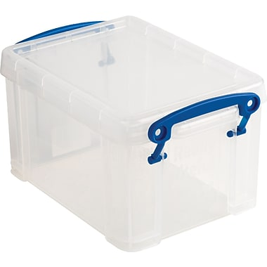 Really Useful Box 1.6 Liter Box with Snap Down Handles, Clear