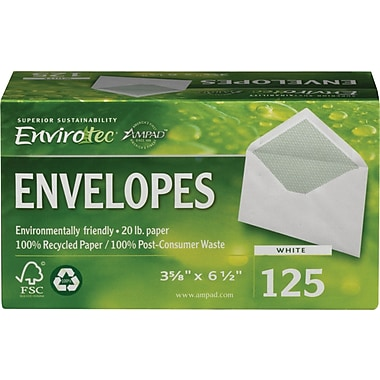 Sustainable Earth by Staples  #6-3/4 100% Recycled Business Envelopes, 125/Box