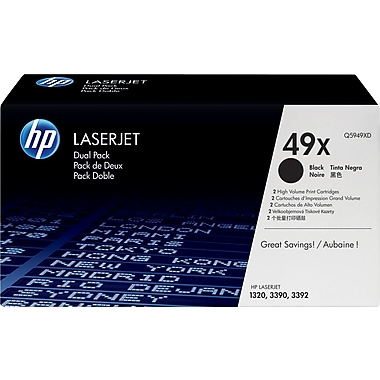 HP 49X Black Toner Cartridges (Q5949XD), High Yield, Twin Pack