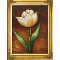 Hand Painted in.Golden Elegance Tulipin. 22x26in. Framed Artwork