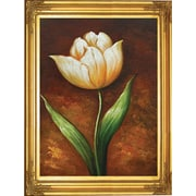 Hand Painted Golden Elegance Tulip 22x26 Framed Artwork