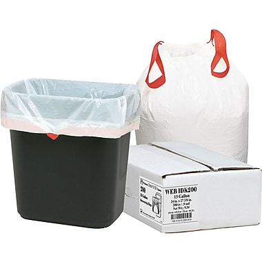 Webster Industries Draw 'N Tie® Trash Bags, White, 13 gal.