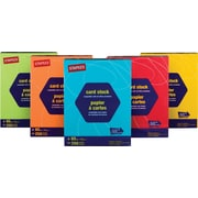 Staples® Brights Colored Card Stock, 8 1/2 x 11, Bright Orange, 250/Pack