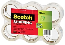 Scotch High-Performance Sure-Start Shipping Packing Tape, 1.88' x 54.6 yds, Clear, 6/Pack