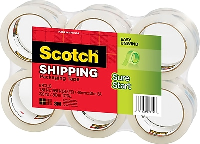 "Scotch High-Performance Sure-Start Shipping Packing Tape, 1.88"" x 54.6 yds, Clear, 6/Pack"