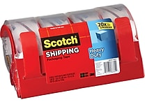 Scotch® Heavy-Duty Packaging Tape, Clear, 1.88' x 54.6 yds, 4 Dispensers/4 Rolls